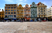 Plzeň, coloured buildings on the square
