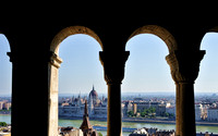 Looking through the columns from Buda Castle