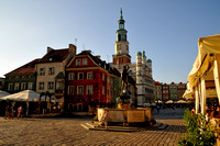 Poznan, the old market square with the merchant houses on the left