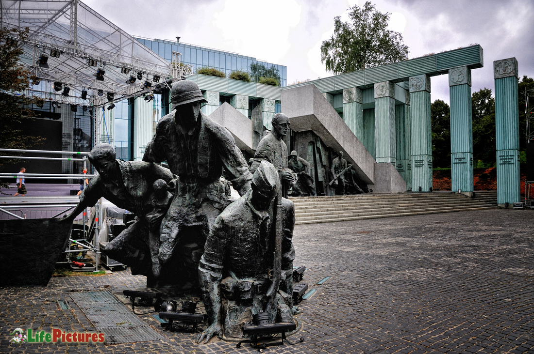 A detail of the monument of Warsaw uprising